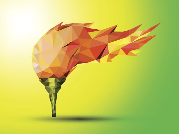 Torch on a green background red in the geometric style